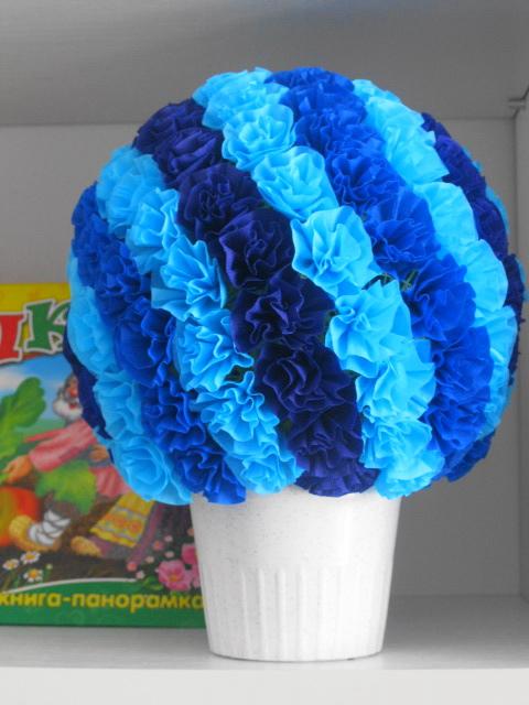 цветочный шар. Блиц: синее и голубое