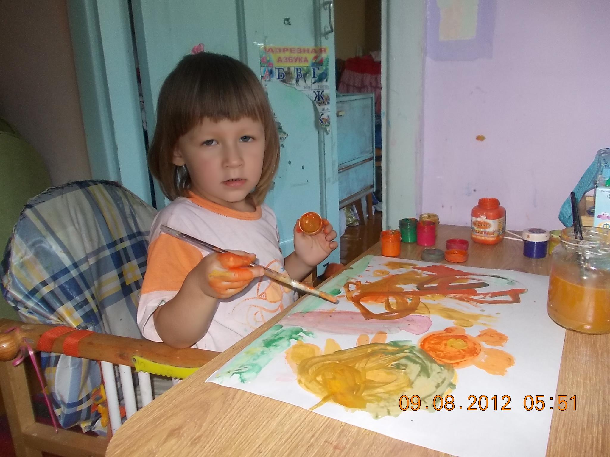 Настенька - живописец.