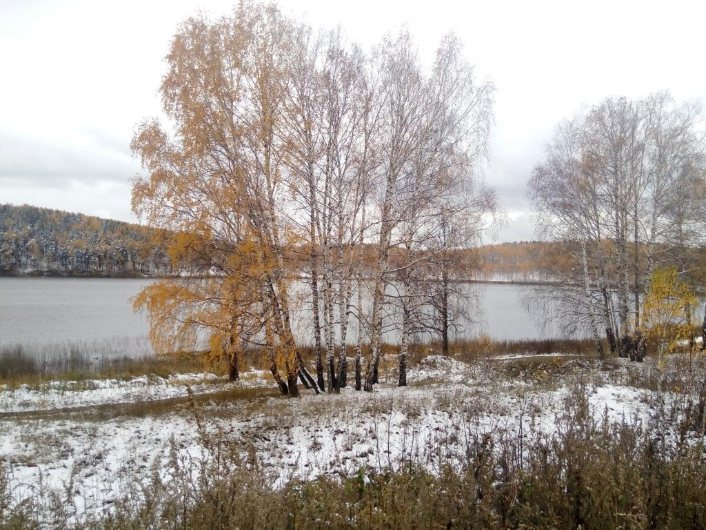Озеро на Урале. Блиц 'Первый снег'