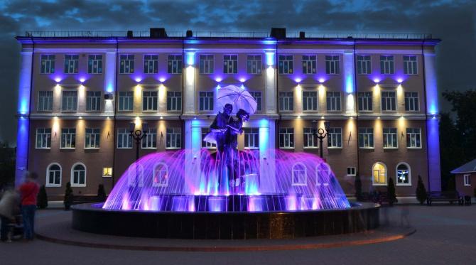 Фонтан 'Вальс дождя' в г.Клинцы Брянской области. Блиц: фонтаны