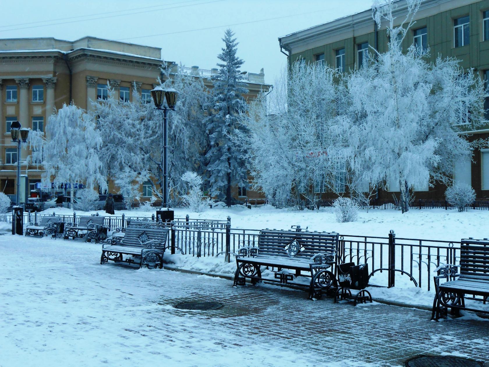 Морозное утро в Иркутске. Блиц: зима