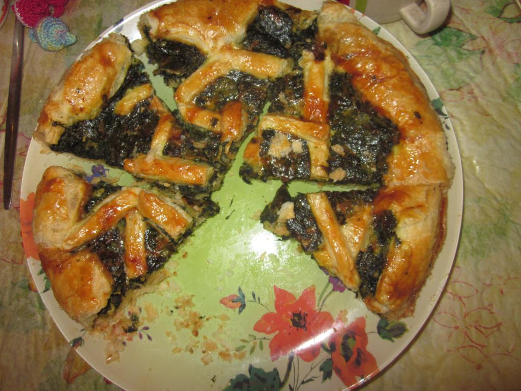 Пирог со шпинатом и сыром. Сделано в микроволновке. Блиц: пироги и пирожки