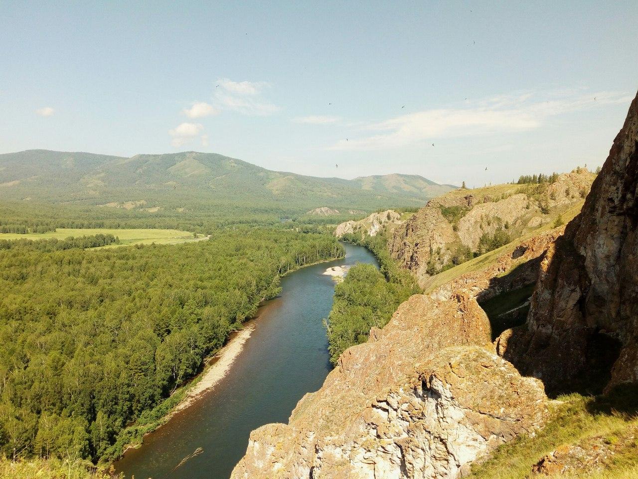 Вид на реку Белый Июс (Республика Хакасия). Блиц: с высоты