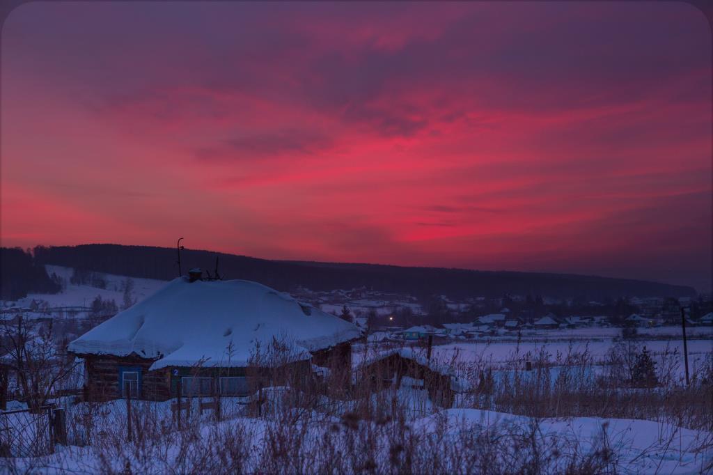 наш дом  и красивый закат . Блиц: деревня