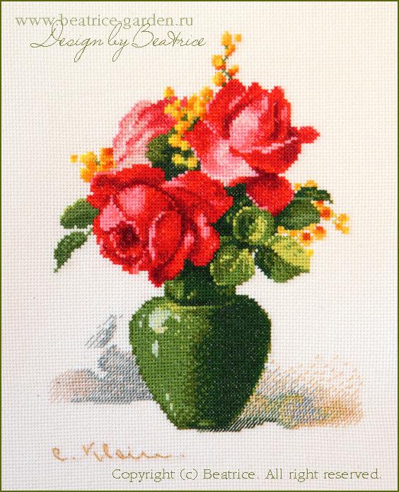 Красные розы. Фото вышитой работы. . Картинки для обложек наборов