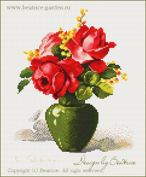 Красные розы. Дизайн в виртуальных крестиках.. Картинки для обложек наборов