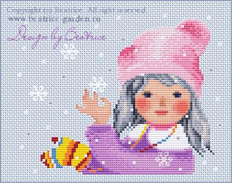 Снежинка. Дизайн в виртуальных крестиках.. Картинки для обложек наборов
