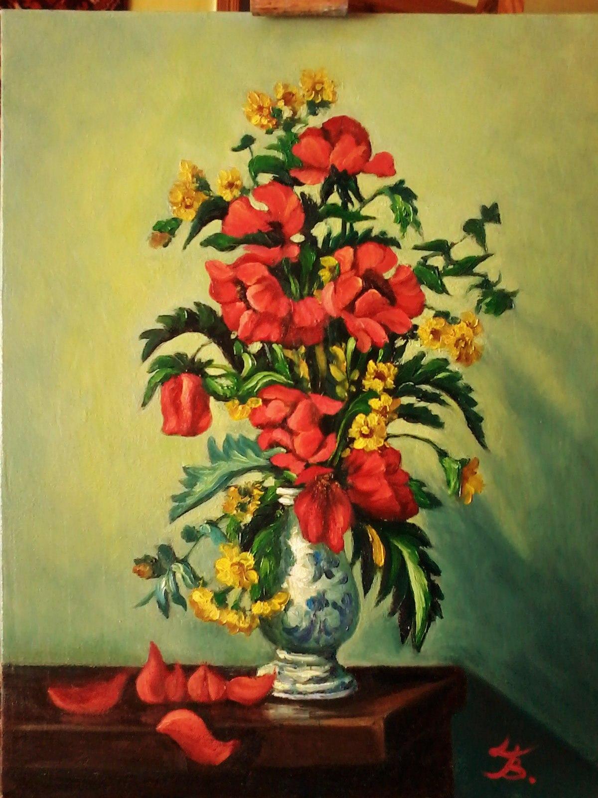 Цветочный натюрморт. Рисунок