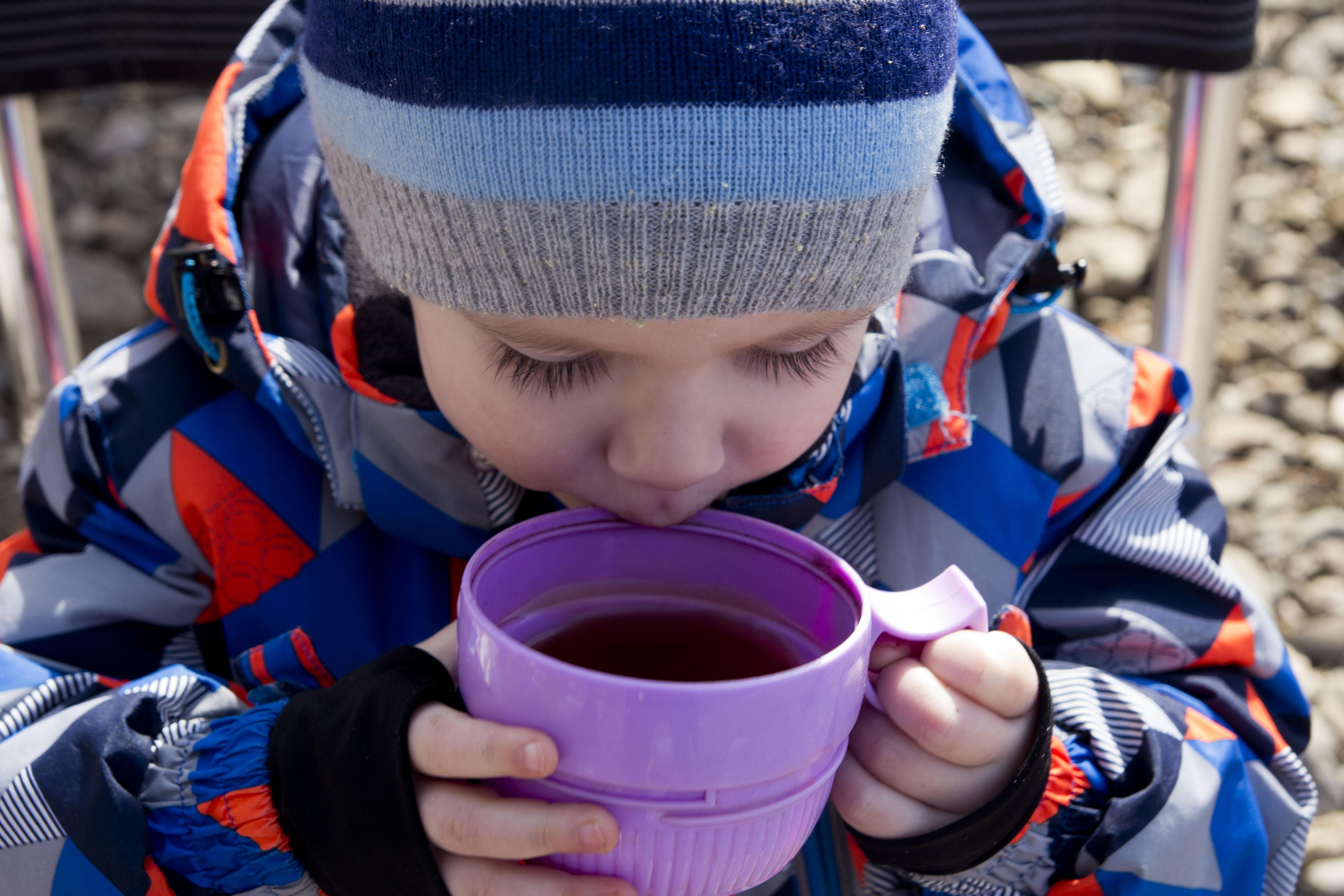 В морозный день чай из термоса -самый вкусный!. За чашкой чая