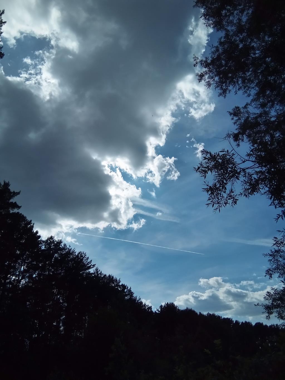Облако и летящий очень далеко самолет.. Блиц: небо в облаках