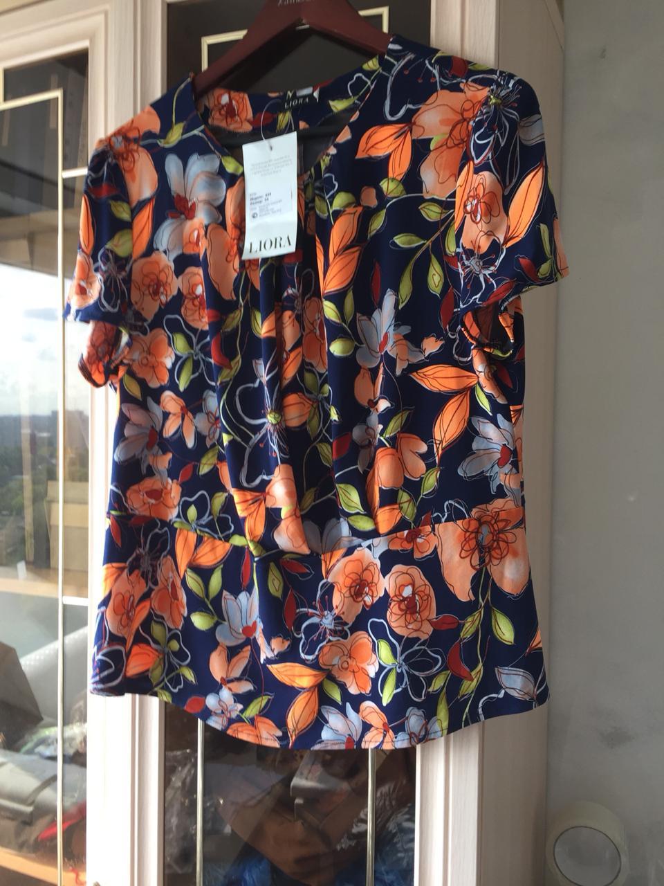 Liora блузка р.54 с ярко оранж. цветами