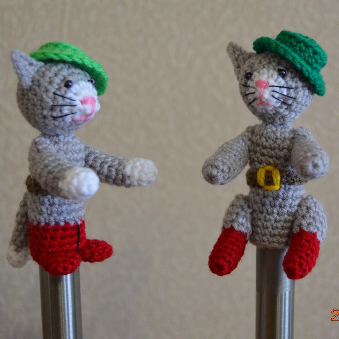 Пальчиковый кукольный театр Кот в сапогах. Вязаные игрушки