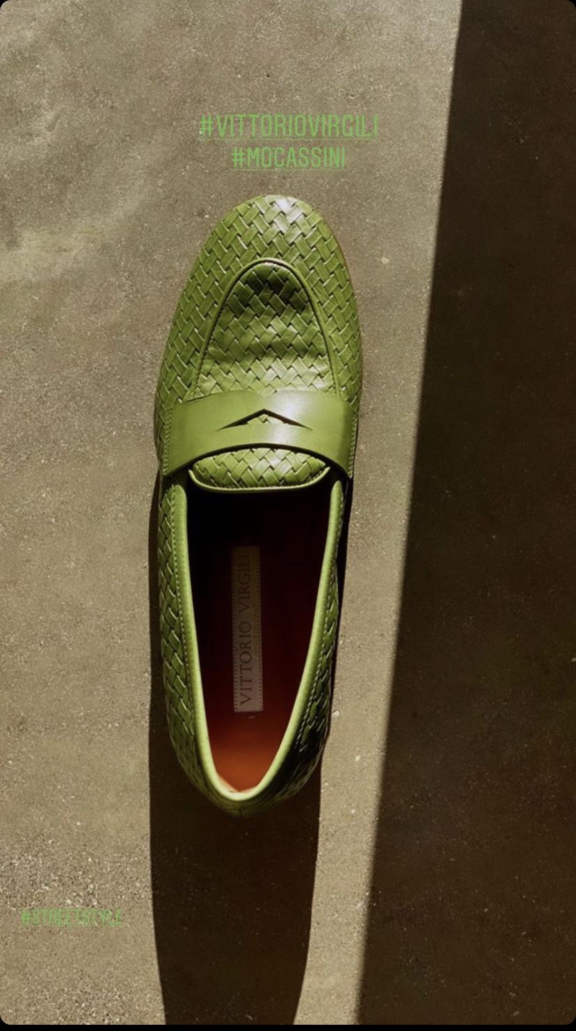 Лоферы плетенные VV зеленые