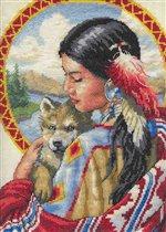 Индеанка с волчонком