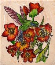 птичка в цветочках