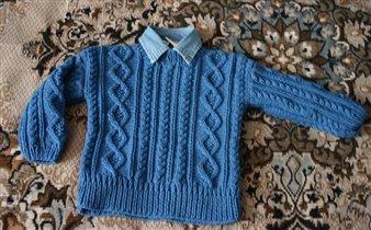 Свитер для Пети, пряжа Джинс, Yarn Art, модель из 'Сабрина Baby'