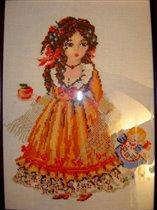 Вышивка 'Девочка с куклой'