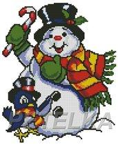 Снеговик с птичкой