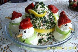 Рождественская закуска елочка и снеговички из феты