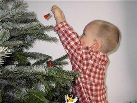наряжает елку