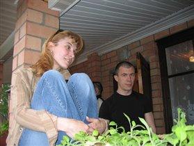С братом у родителей на даче