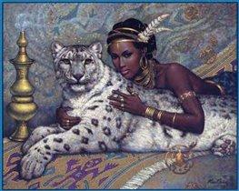 Африканка с барсом