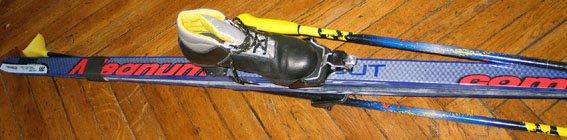 Лыжи, 180cm, ботинки (кожа) 38р., палки