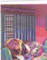 Кусок канвы с напечатанным рисунком