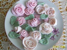 Розы из маршмелоу мастики