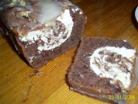 Шоколадный кекс с апельсиново-творожной начинкой