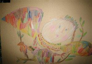 Наши рисунки, Даша,3,5-4 года. Карандаш