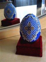 Бисерное яйцо ' Синее в горошек '