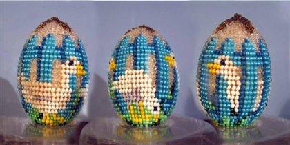 Бисерное яйцо 'Гуси'
