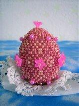 Бисерное яйцо ' Розовое с розовыми цветочками '