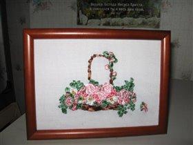Корзина с розами - вышивка лентами