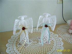 Вот так украсила ангелов на свадебные подарки