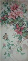 Бабочка и клематисы