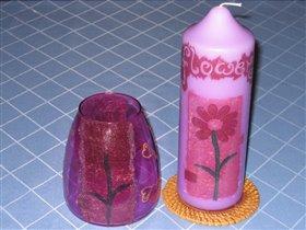 Декупаж на свечи и вазе
