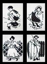 Четыре черно-белые картинки