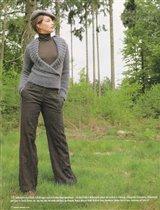 Пуловер с эффектом запаха и шалевым воротником