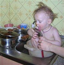 Когда нет посудомоечной машины...