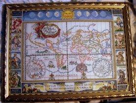 Старинная карта кругосветного путешествия.