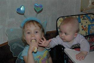 Я и за сестрёнку поесть могу...