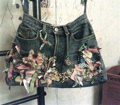 Сумка из джинсов, общий вид.