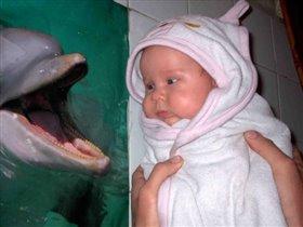 Мы купались, и смеялись с дельфинчиком!!