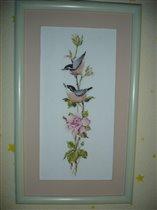 Птички на розовой ветке
