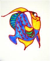 рыбка с красным контуром