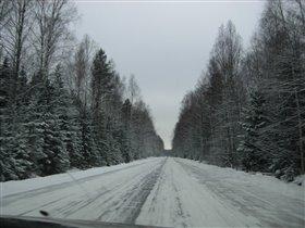 Зима за окном автомобиля!