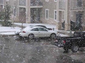 После оттепели в Калгари снова идет снег....