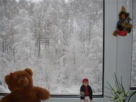 первый снег 2007года.вид из окна